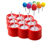 Wholesale Plastic Popsicle Molds - Ice Lolly Mould Silicone Mini Ice Pops Mold Ice Cream Ball Lolly Maker Popsicle Molds With 9 Cavity DIY Kitchen Tools 50pcs