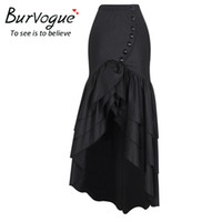 Wholesale Gothic Long Skirts Women - Burvogue 2017 Women Long Fashion Skirt Steampunk Gothic Style Skirts Sexy Slim Fishtail Corset Elastic Mermaid Maxi Skirts