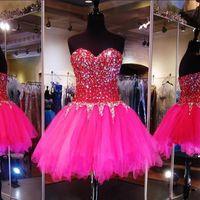 Wholesale Lilac Short Dress Uk - Hot Pink Sweetheart Crystal Homecoming Dresses 2017 Short Prom Dresses Real Corset Tulle Graduation Dresses USA UK