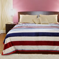Wholesale Stripe Coral Fleece Blanket - Star stripe style blankets Flannel fleece soft Plaid print blanket bed sofa Throws fashion 7 colors optional
