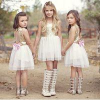 Wholesale Girls Sequin Dance Dresses - Big Girls Sequins lace Vest dress for 3-8T Loving Heart Hollow out Backless Sun dress Pretty princess Bowknot dancing dress
