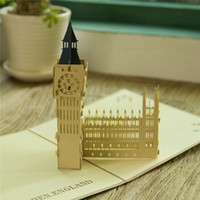 10pcs / lot À la main Vintage Big Ben Design 3D Pop UP Card GreetingGift Cartes de Noël Invitations de mariage 3D