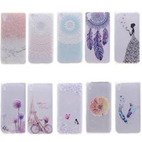 Wholesale Decorations For Mobile Phone Case - Transparent TPU Cover For SONY Xperia X Case Colour decoration Tower bike Butterfly Girl Feather Design Mobile Phone Case