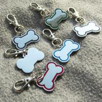 Wholesale diamond pet id tags - 50pcs Zinc alloy Blank Bone Pet Dog ID Tags Laser and Diamond Engravable Pet Dog Tags