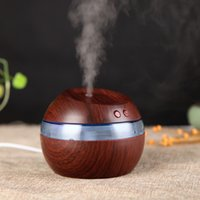 Wholesale Wooden Aroma Diffuser - Mist Maker Air Purification Humidifiers Wooden USB Ultrasonic Aroma Humidifier LED Light Up Essential Oil Diffuser For Home 32st A R