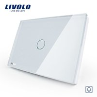 Wholesale Touch Doorbell Led - LS11- Free Shipping, Smart home, Livolo White Crystal Glass Panel, AC110~250V, LED indicator, US Doorbell Switch VL-C301B-81