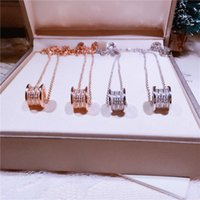 Wholesale Platinum Full 925 Sterling Silver - Korean version of the 925 sterling silver micro-set Xiaoman waist full drill necklace 3 row diamond lock chain chain 4 ring tail chain jewel