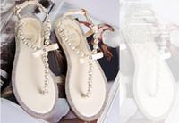 Wholesale Bow Pink Flat Back - Koovan Women Sandals 2017 Summer Fashion Shoes Girl's Bow Diamond Pearl Women Sandals Flat Sandals Woman Shoes Larger Size 36-42