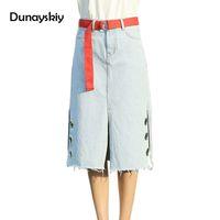 Wholesale Jean Skirt Shorts Women - 2017 Summer Long Split Denim Skirt Package Hip High Waist Short jeans Skirt for Women Cool Sequined Hole Mid Jean Jupe Dunayskiy