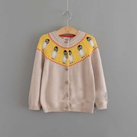 Wholesale Carton Cute Girl - Everweekend Girls Carton Penguin Knitted Cardigan Sweaters Candy Color Cute Children Spring Fall Jackets