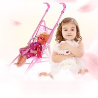 Wholesale Doll Prams - Wholesale-Pink Trolley Toy Baby Girls Doll + Iron Stroller Pushchair Pram Foldable Stroller Funny Toy Birthday Christmas Gift