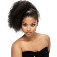 Wholesale Hairpieces For Black Women - kinky straight human Hair Ponytail Extension 120g wrap around coarse yaki straight Pony tail hairpiece for black women free ship