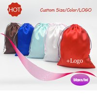Wholesale Satin Drawstring Shoe Bags - (50 pcs lot)Satin Drawstring Bag Satin Ribbon Jewelry Hair Gift Travel Watch Shoes Cloth Bags Pouch Wholesale Custom Logo Size
