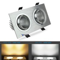 Wholesale Spotlights Grille Lamp - Double COB LED Spotlight Grille 2 * 15w square dimmable ceiling lamp living room lights led recessed downlight 110-240V CE&ROHS