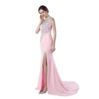 Wholesale Inspire Sales - Rhinestone Evening Gown Vestido De Festa Longo Sale 2017 Sexy High Split Mermaid Backless Prom Dresses