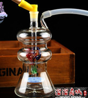 Wholesale Types Flower Pots - Flower mute glass hookah, send a full set of burning pot accessories, glass bongs, water pipes, smoking, color style random delivery