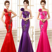 Wholesale Satin Dress Chinese - new arrival hot sale 2017 red royal blue fuchsia one shoulder long Chinese mermaid embellished satin evening gown dresses W2415