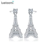eiffel schmuck großhandel-LUOTEEMI New Modeschmuck Geschenk für Frau Nette Micro CZ Kristall Paris Eiffelturm Ohrstecker Weiß Gold-Farbe Brincos
