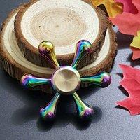 Wholesale Kong Bones - Rainbow Color White Bone Demon Six Arm King Kong Molecule Fidget Spinner Colorful EDC Gyro Toys Hand Spinner Fidget Metal Fidget HandSpinner