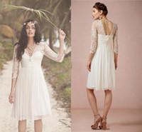 Wholesale Knee Long Fairy Dress - 2017 New Short Beach Wedding Dresses 3 4 Long Sleeves Backless Lace Top Knee-Length Fairy Boho Bridal Gowns Vestidos De Noiva Cheap Custom