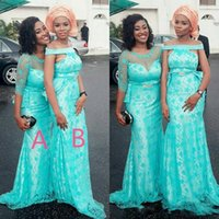 Wholesale Mermaid Style Prom Wedding Dress - Turquoise Two Styles Arabic Bridesmaid Dresses For Wedding Lace Covered Satin Mermaid Maid Of Honor Gowns Women Prom Party Dresses