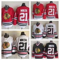db054d42 Old Time Chicago Blackhawks Hockey Jerseys Mens #21 Stan Mikita Home Red  White Vintage Stan Mikita 75th Anniversary Black Stitched Jersey