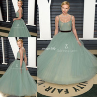 black vanities - Sage Green Tulle Ball Gown Celebrity Dress Kate Bosworth Vanity Fair Oscar Evening Party Gowns Scoop Neck Sash Long Prom Dress Cheap