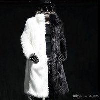 Wholesale Mink Collar Black Coat - Mens Winter Long Coats Fox Fur Manmade Mink Fur Jackets Casual Overcoats Male Plus Size Outwears free shipping