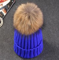 Wholesale Cream Mink - mink and fox fur ball cap pom poms winter hat for women knitted beanies cap brand thick female beanies Caps 32519655255