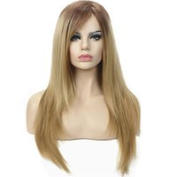 Wholesale two tone blonde wig - Silky Straight Ombre Two tone Strawberry Blonde Full Synthetic Wig