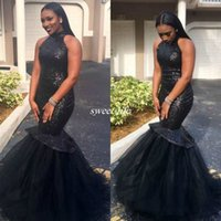 Wholesale Styles For Formal Maternity - 2017 Dubia Arabic Style Black Party Dresses For Prom Tulle Sequined Sleeveless Fashionable Mermaid Prom Gowns Formal Evening Custom Made