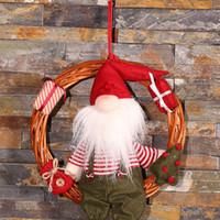 rattan spielzeug großhandel-Weihnachten Anhänger Dekoration Weihnachtskranz Rattan Hängen An Tür Wand Baum Weihnachtsmann Spielzeug Für Kinder Weihnachtsdekoration Noel