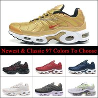 Wholesale Mens Discounted Tennis Sneakers - Discount Brand New Running Shoes For Men Black White Mens Air Cushion Plus TN Shoes Man Trainers Sneakers Jogging Tennis Athletic Shoes