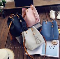 Wholesale trendy cross body bags - Women Handbags Trendy Tassel PU Leather Handbag Composite Bag Bucket Tote Messenger Large Capacity Waterproof Makeup Bags