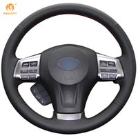 Wholesale Cover Subaru Forester - Mewant Black Genuine Leather Steering Wheel Cover for Subaru Forester 2013-2015 Legacy 2013-2014 Outback 2013-2014 XV 2013-2015