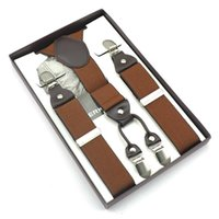 Wholesale Suspenders Plastic Clips - Wholesale- Newest Solid Colors Men 4 Clip-on Y-back Elastic Suspender With Box Plastic Card For Father Friend Present Gift 7 colors Braces