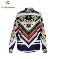 Wholesale Retro Shirt Dress - Newest Unique Design Luxury Men Shirt Chemise Homme Retro 3D Gold Floral Long Sleeve Slim Dress Shirts Baroque Royal Men Clothes