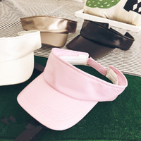 Wholesale Leather Hat Bands Wholesale - 2017 Fashion Unisex PU Leather Visor Empty Top Sun Hat Brim Blank Elastic Band Caps Summer UV Protection Hats For Men And Women
