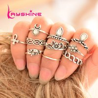 Wholesale Antique Water - 10pcs set Bohemian Ethnic Ring Antique Gold Silver with Rhinestone Geometric Water Drop Elephant Flower Knuckle Midi Rings Set