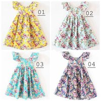 Wholesale Girl summer dress baby girl broken flower dress children lemon print princess party dess colors can choose