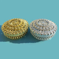 Wholesale Treasure Box Wholesale - Luxury Golden Silver Peacock Round Candy Box Treasure Chest Wedding Favor Box Party Supplies Wholesale wen4428