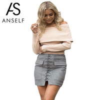 Wholesale Womens Suede Skirts - Wholesale- Anself Fashion Women Lace Up Suede Leather Skirt Sexy High Waist Bodycon Skirts Womens Vintage Pocket Short Pencil Skirt Faldas