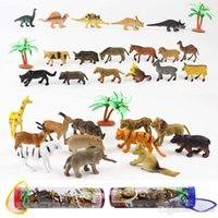 Wholesale Toy Wild Animals Plastic - 5Sets lot Simulation model dinosaur wild forests domesticated animals 12 designs of plastic dinosaurs children gifts novelty toys