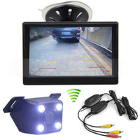 5inch LCD Display Rear View Car Monitor + LED Color Night Vision Camera do carro Wireless Parking Sistema de segurança Kit