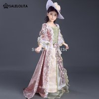 Wholesale Xl Girls Birthday - 2017 unique rose red floral lace Children Renaissance Gowns little Girls birthday royal venice party Dresses costumes