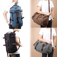 Wholesale Canvas Duffle Backpack - bag quality 2017 New High Quality Men Vintage Canvas Backpack Laptop Rucksack Outdoor Travel Hiking Climbing Shoulder Duffle Bags