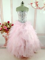 Wholesale Detachable Quinceanera Dress Gown - New Pink Real Image Quinceanera Dresses With Detachable Skirt Two Pieces Sweetheart Crystal Ruffle Organza Sweet 16 Prom Party Gowns 2017