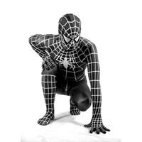 Wholesale Sexy Zentai Spiderman - Halloween Black Spider-man Costumes Amazing Spider-Man Costume Spiderman Suit Zentai Costumes For Family Kids Women Men
