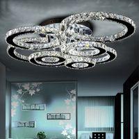 kristal baş ışığı toptan satış-K9 Avizeler Oturma Odası K9 Kristal Tavan Işık Yuvarlak LED Avize 1 2 4 6 8 Kafaları Yemek Odası Restoran Avizeler 5730 LED Cips