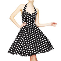 Летние женские винтажные платья Vestidos 50s Robe Retro Polka Dot Rockabilly Swing Sexy Backless Party Dress Plus Размер